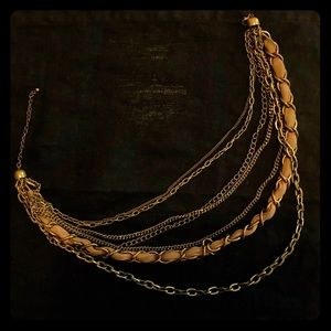 Multichain Vintage Gold/Taupe Cascade Necklace